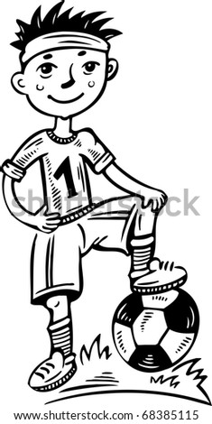 Little football player with a ball.Children.Vector illustration ready for vinyl cutting. - stock vector