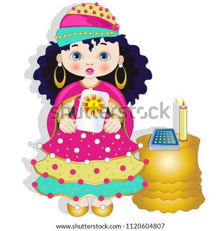 Little Fortuneteller Tarot Cards Stock Vector 1120604807 Shutterstock