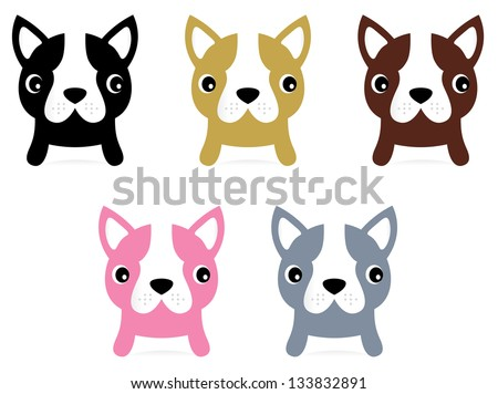 Little french buldog puppies set isolated on white - stock vector