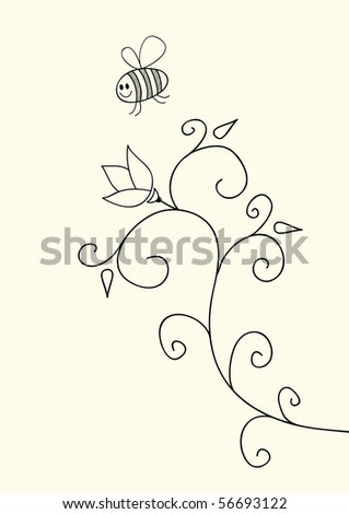 Little funny bee and flower, vector doodles - stock vector