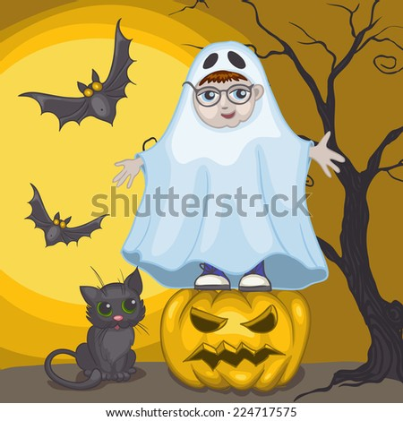 Little Ghost And Pumpkin, Halloween Background, Eps 10 Vector Illustration