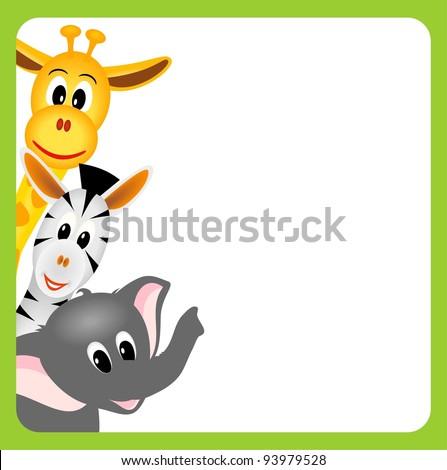 little giraffe, elephant and zebra on white background in green border - vector illustration - stock vector