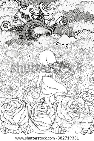 Little girl alone. Many roses. Black and white abstract fantasy picture. Wind, clouds, sun. Eco theme. Pattern for coloring book. Floral,  doodle, vector, design elements. Zentangle - stock vector