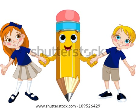 Little girl and boy holding hands of a giant pencil - stock vector