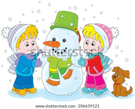 Little girl and boy make a funny snowman - stock vector