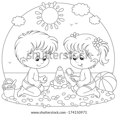 Little girl and boy playing on a beach - stock vector