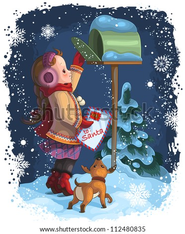 Little girl and her puppy posting a letter to Santa. Christmas holiday vector illustration. Also available raster version - stock vector