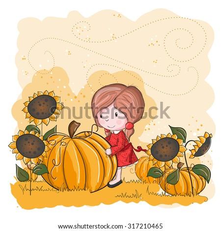 Little girl and pumpkin - halloween or thanksgiving card