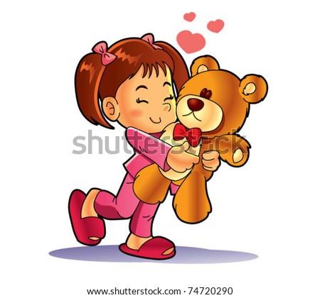 little girl and teddy bear - stock vector