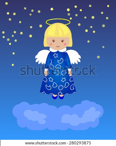 Little girl - angel in the night sky above the clouds - stock vector