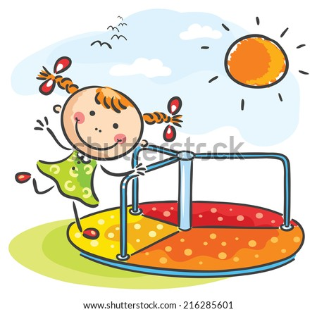 Little girl at the playground - stock vector