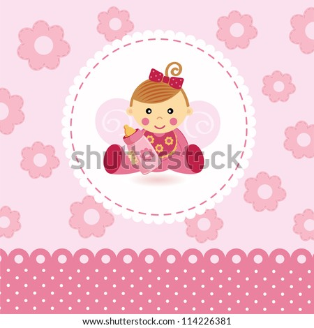 little girl baby vector - stock vector