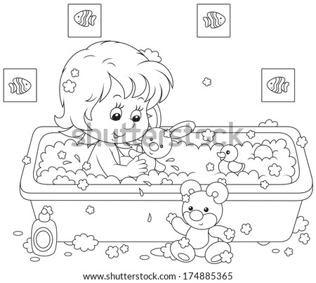 Little girl bathing with toys - stock vector