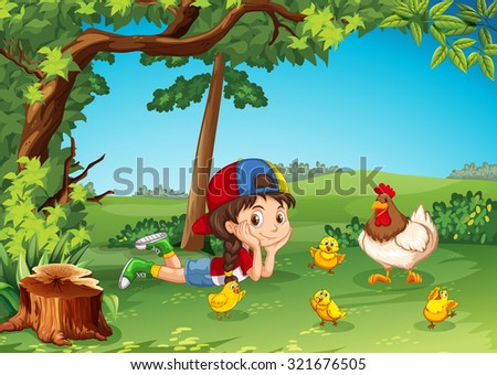 Little girl being with chickens illustration - stock vector