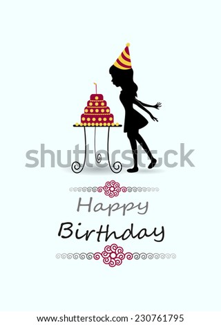 little girl blowing out candles on birthday cake - stock vector
