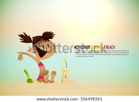 Little Girl Building Sand Castle on the Beach | Sunny Seashore | EPS10 Vector Background | Layers Organized and Named Accordingly - stock vector