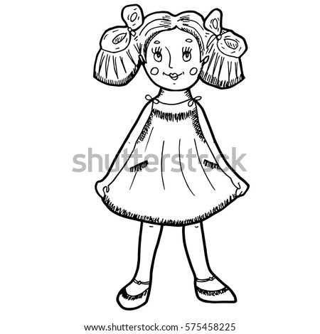 Portrait Girl Dress Bow On Hair Stock Vector 521790595 Shutterstock