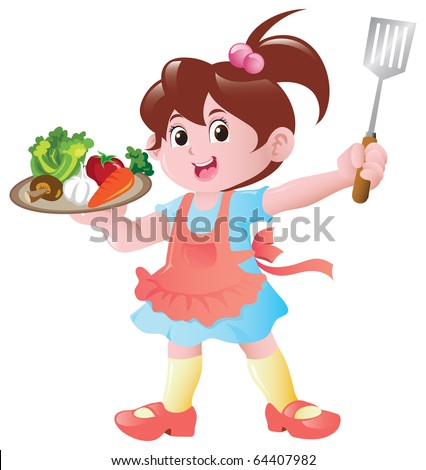 Little girl cartoon holding a plate of food ingredients. - stock vector