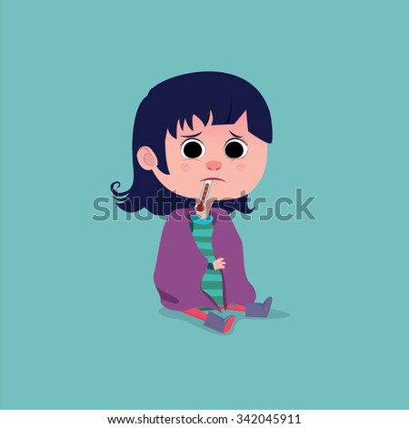 Little girl cartoon sick