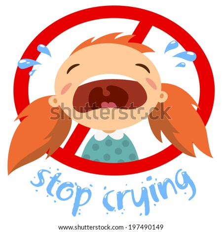 little girl crying - stock vector