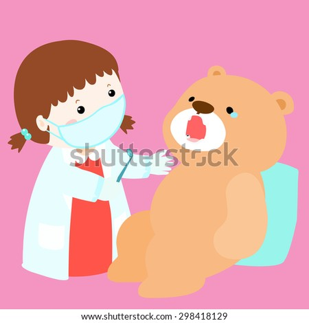 little girl cure doll have tooth decay vector illustration - stock vector