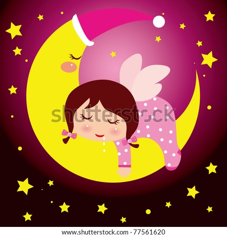 Little girl dreaming in the moon - stock vector