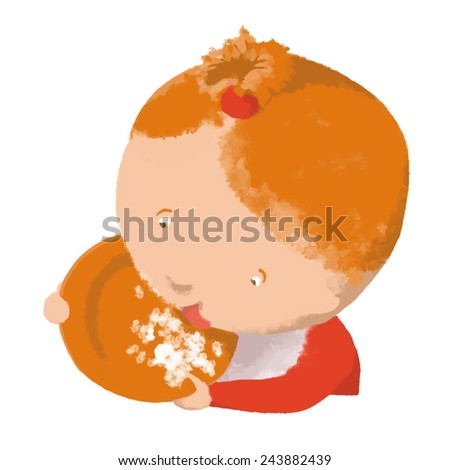 Little girl eating from a plate. Vector. May be used not only on white background. - stock vector