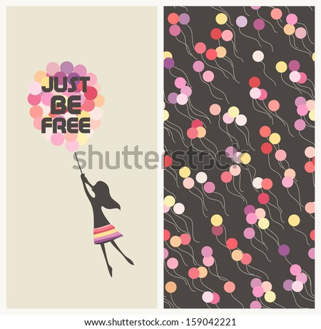 Little girl flying away on balloons. Motivational text idiom Just be free - stock vector
