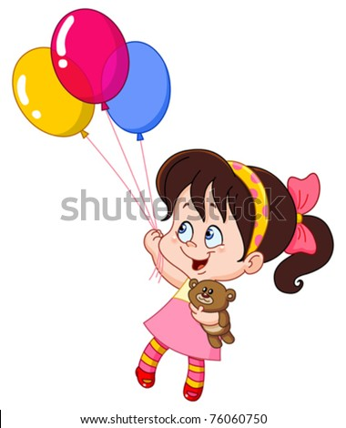 Little girl flying with balloons - stock vector