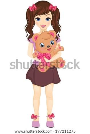 Little girl holding a bear. - stock vector