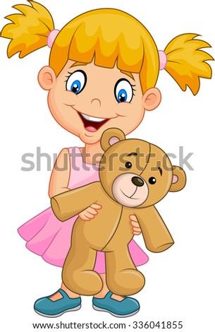 Little girl holding teddy bear isolated on white background - stock vector