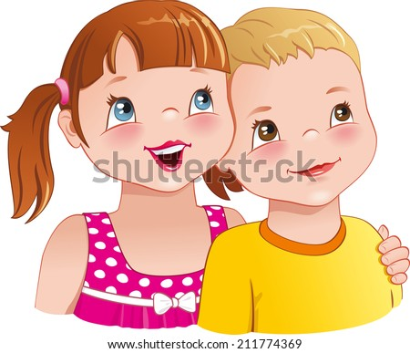Little girl hugging a boy - cute kids looking up, smiling happily, having fun together. Vector illustration - stock vector