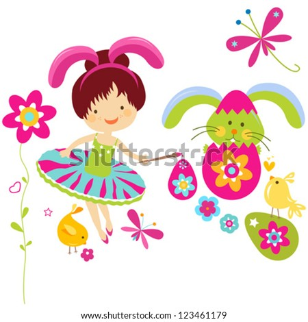 little girl in bunny costume painting a easter egg