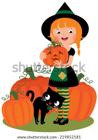Little girl in Halloween witch costume on a white background holding a pumpkin/Halloween witch with pumpkins/Halloween witch holding a pumpkin Jack O'lantern - stock vector