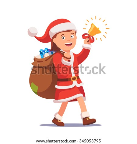 Little girl kid dressed like Santa Claus carrying sack full of gifts walking and ringing his christmas bell. Flat style vector illustration isolated on white background. - stock vector