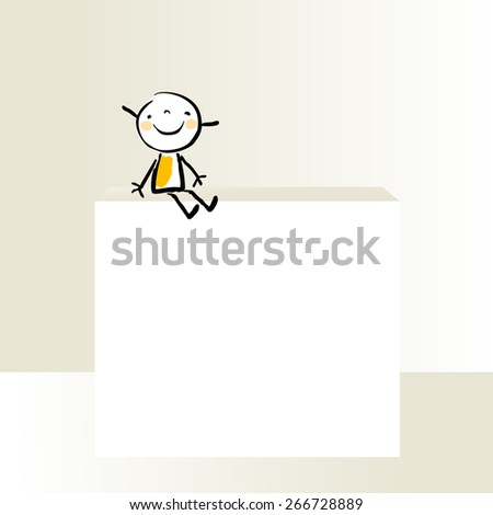 Little girl, kid with blank placard, copy space. Vector doodle drawing, sketch. - stock vector