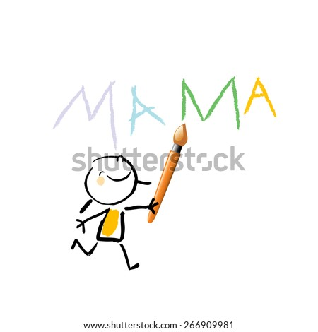 Little girl, kid writing mama with colorful letters. Painting kid. Vector sketchy illustration, doodle style.  - stock vector