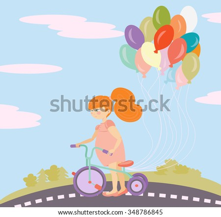 Little girl on a bike with balloons - stock vector