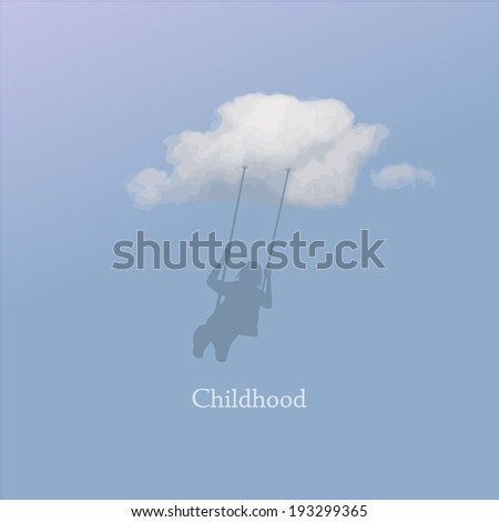 Little girl on a swing  in the clouds. Childhood. vector - stock vector