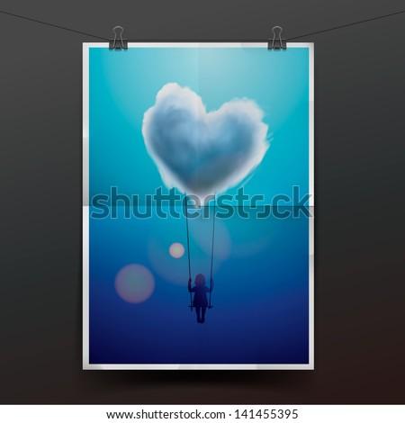 Little girl on a swing under heart shape cloud, vector illustration. - stock vector