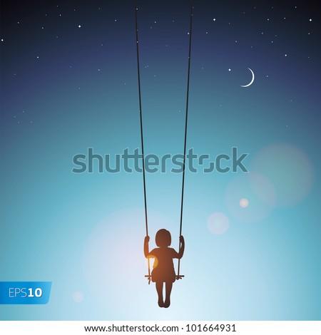 Little girl on a swing, vector Eps 10 illustration. - stock vector