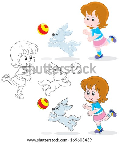 Little girl playing a ball with her pup - stock vector