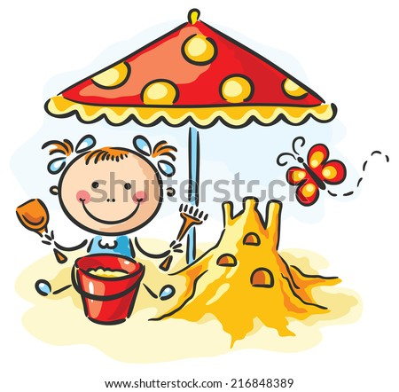 Little girl playing at the beach - stock vector
