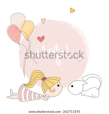 Little girl playing with a kitten, I love you message, vector illustration - stock vector