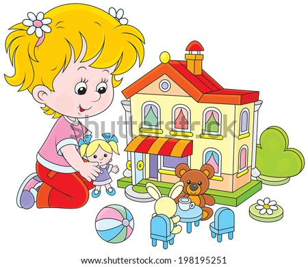 Little girl playing with a small doll, bear, rabbit in a toy house - stock vector