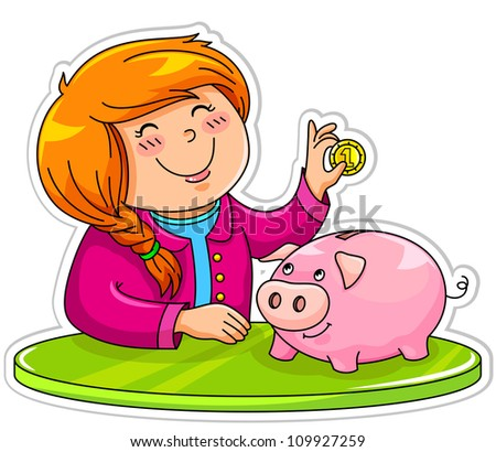 little girl putting a coin in her piggy bank (JPEG version available in my gallery) - stock vector