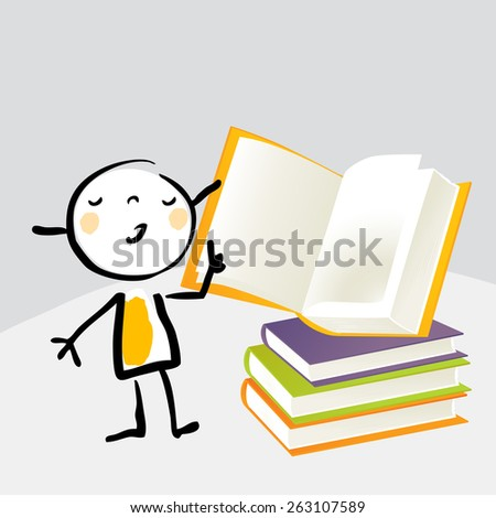 Little girl, reading from a book, education concept. Vector illustration doodle cartoon sketchy style. - stock vector