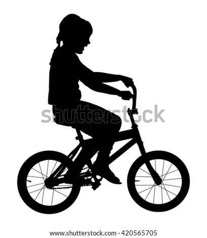 Little girl riding a bike vector silhouette illustration isolated on white background. - stock vector