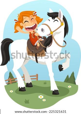 Little girl riding horse illustration - stock vector
