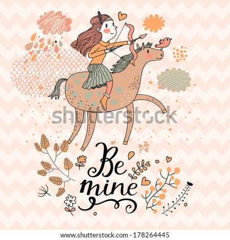 Little girl riding on pink horse with bow. Cute zodiac sign - Sagittarius. Vector illustration.  - stock vector